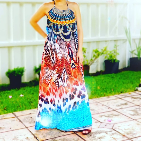 Dresses & Skirts - ONE SIZE EMBELLISHED TANZANIA NECKLACE MAXI DRESS